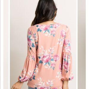 Pinkblush Tops - Pinkblush Peach Floral Puff Sleeve Top